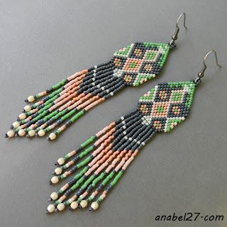 Серьги из бисера в этническом стиле купить в интернет магазине авторских украшений