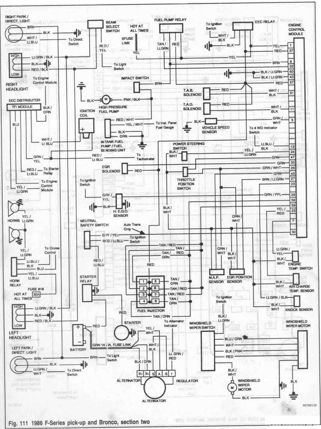 Ford Bronco and FSeries Pickup 1986 Engine Control Module Wiring Diagram | All about Wiring