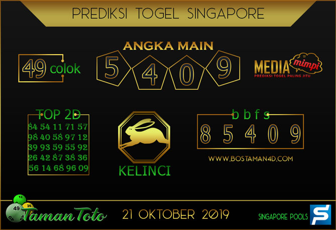 Prediksi Togel SINGAPORE TAMAN TOTO 21 OKTOBER 2019