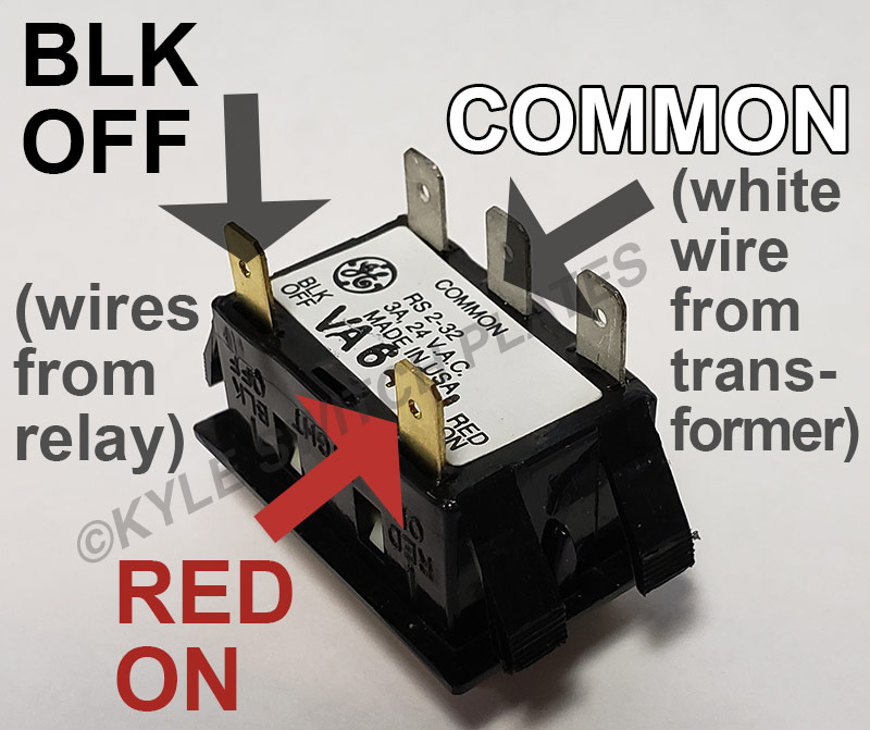 back of ge low voltage switch: