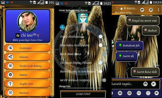 BBM Mod Blue Angelic Gold theme v3.1.0.13 Apk