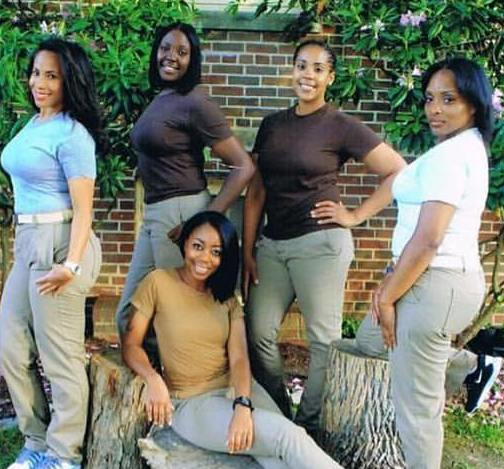 Women pictured smiling and looking beautiful in prison attires