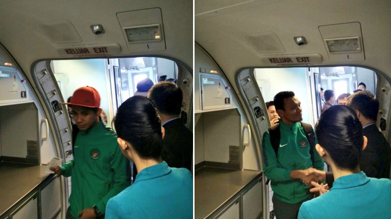 Pemain Timnas Indonesia naik pesawat Garuda menuju Bangkok