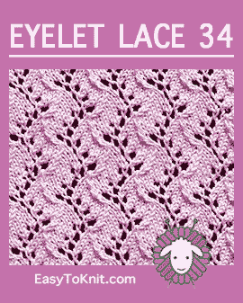 #Knit Traveling Vine stitch, Easy Eyelet Lace Pattern #easytoknit #knitlace