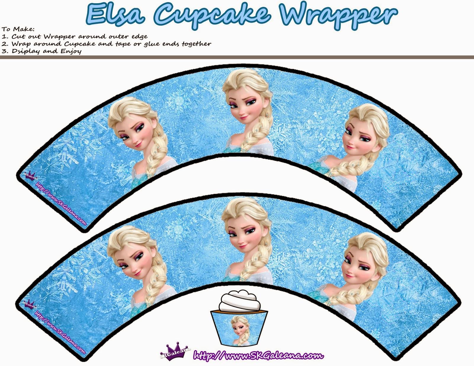 Wrappers de Elsa para Cupcakes.
