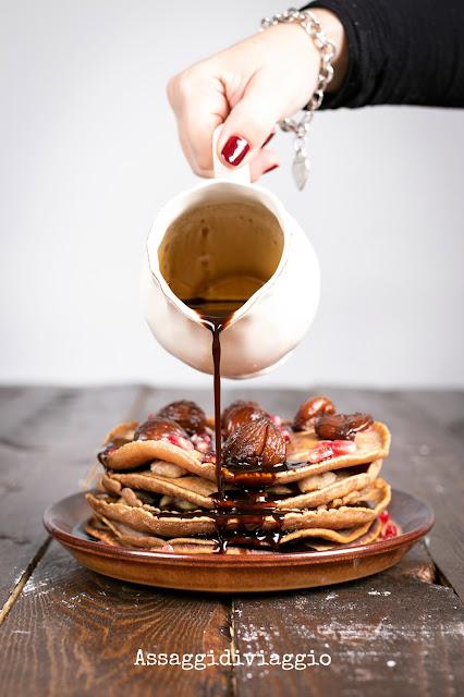 Pancake di castagne con castagne caramellate al caffè