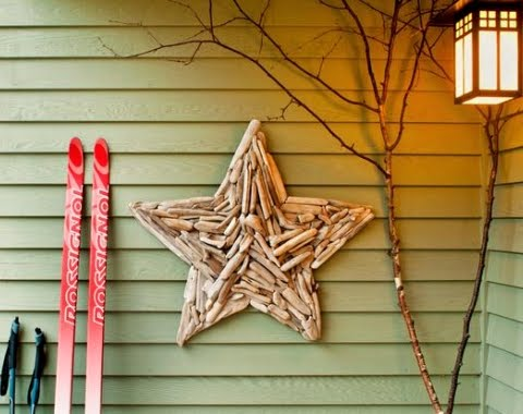 Christmas star outside on porch wall
