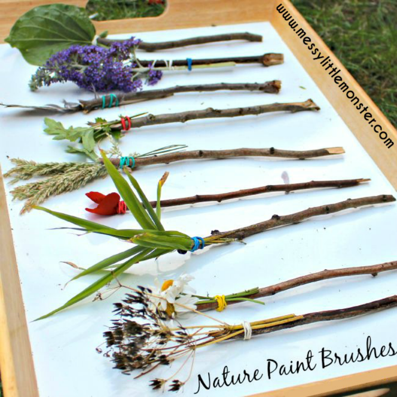 Nature Paintbrushes - Easy outdoor Art Ideas for Kids - large scale, messy, nature inspired art activities for toddlers, preschoolers and school aged kids to do outside.