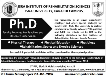 Ph.D Faculty Required for Teaching and Research Supervision at ISRA Institute of Rehabilitation Sciences, ISRA University