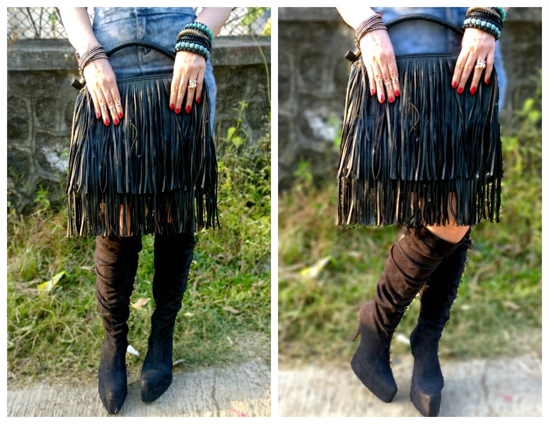 Fringe bag, black ankle boots