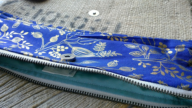 Gold and Navy Blue Branch burlap wristlet by Lina and Vi - linaandvi.etsy.com - Rifle Paper Co for Cotton+Steel