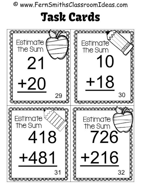 Fern Smith's Classroom Ideas Rounding to Estimate the Sum Task Cards Printables at TeacherspayTeachers, TpT.