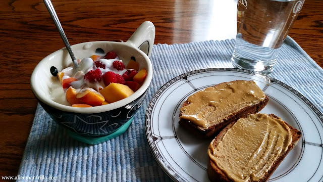 food diary, meal plan, Tasty Tuesday, What I Ate Today, healthy, balanced, diet, eating, breakfast, banana bread, peanut butter, yogurt, fruit