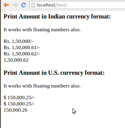 Print Amount in Indian currency format using php   Nilesh's BLOG