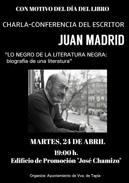 Charla del escritor Juan Madrid en Villanueva de Tapia
