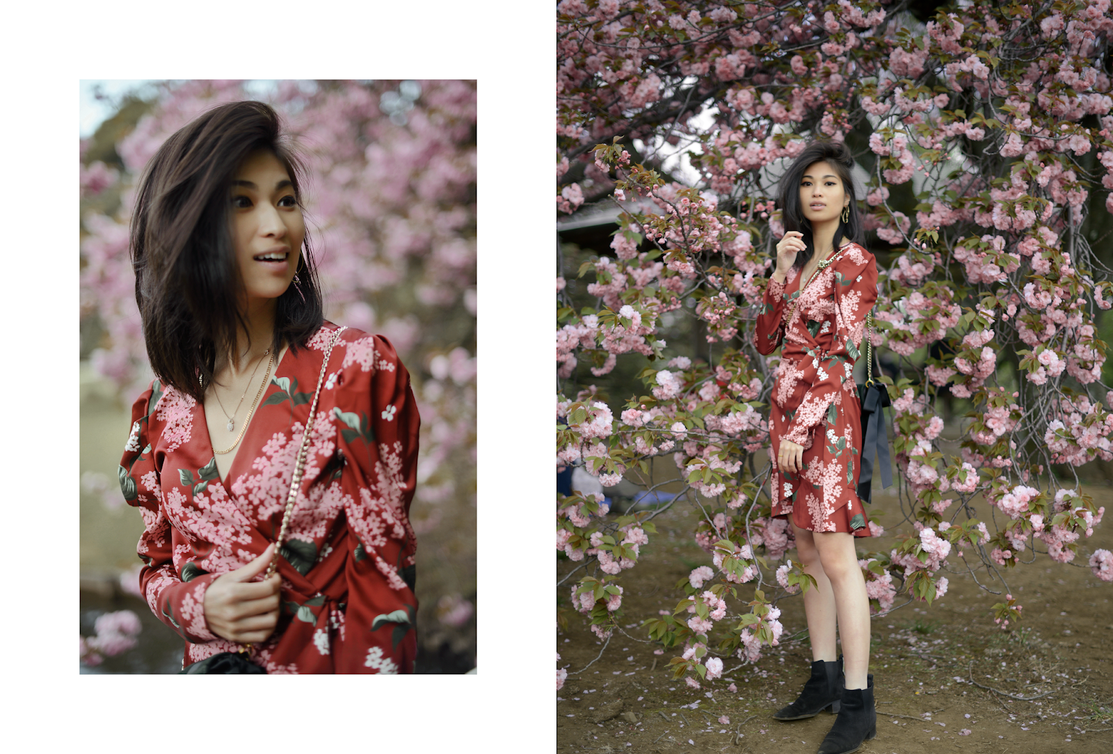KEEPSAKE THIS MOMENT LONG SLEEVE WRAP DRESS, Cherry Blossoms Bloomed in Tokyo, Cherry Blossoms Portraits, Cherry Blossoms Tokyo, Tokyo Spring Style, Red Floral Wrapped Dress, Long Sleeve Wrapped Dress / FOREVERVANNY.com