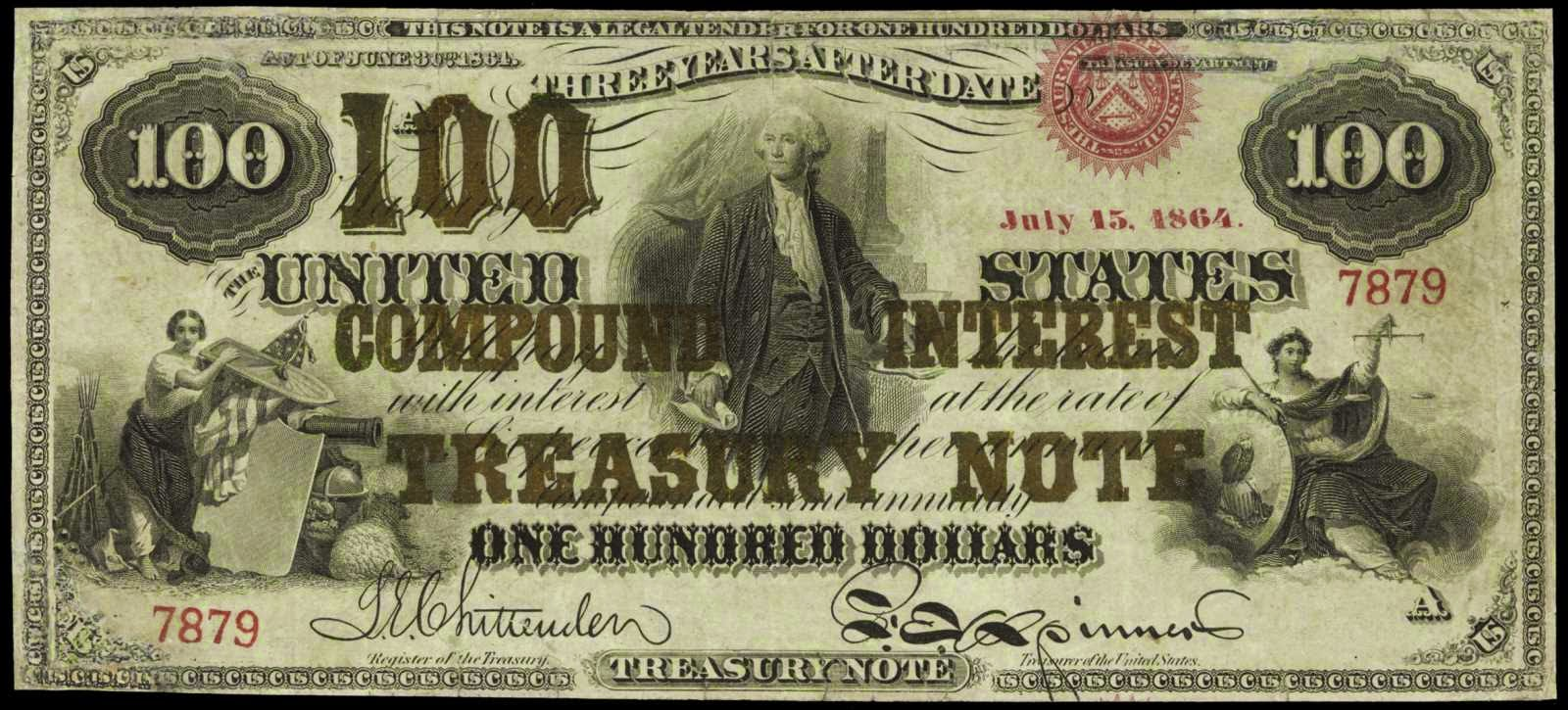 US paper money 1864 One Hundred Dollar Compound Interest Bearing Note