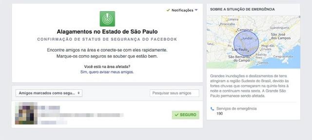 Facebook ativa Safety Check no Brasil por causa das fortes chuvas em SP