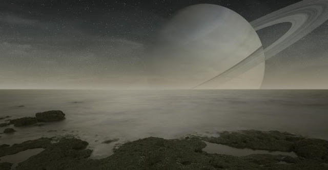 An artist's rendering of the surface of Titan, a moon of Saturn. Courtesy: iPhoto Stock, manjik.