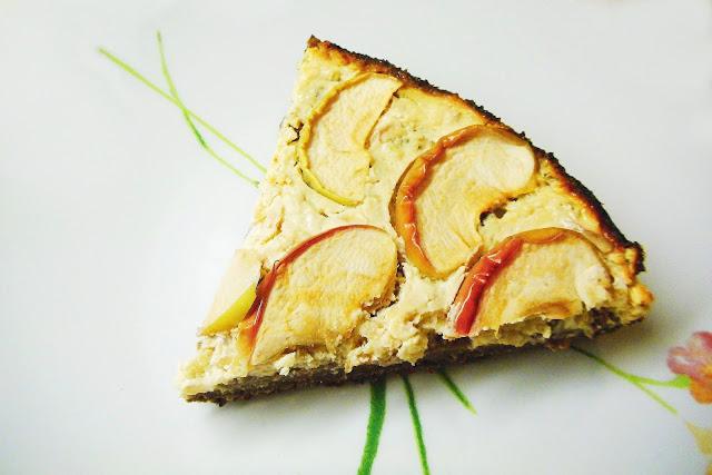 jablečný, koláč, jablka, tvaroh, zdravý