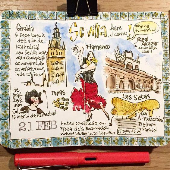 travel journal con dibujos sobre sevilla