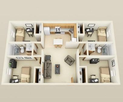 Sketsa Rumah Minimalis 4 Kamar Tidur 3D - Desain Rumah Idaman