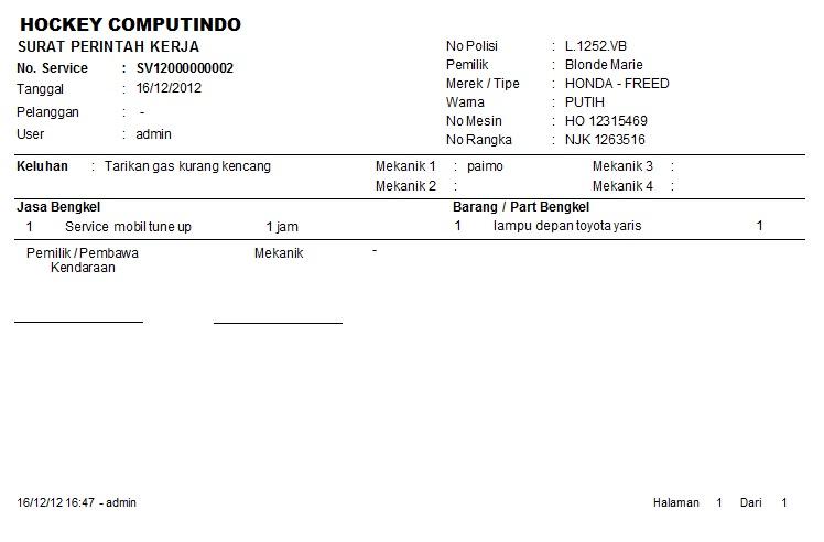 Contoh Invoice Bengkel Rasmi W