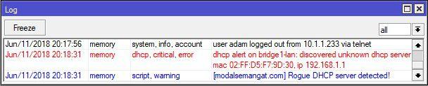 Log DHCP Alert Mikrotik