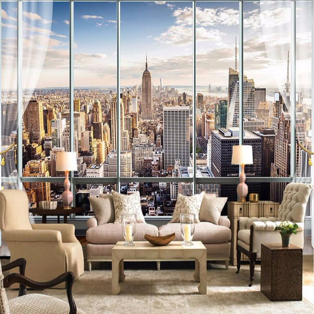 Wall Mural Ideas for Living Room New York Skyline Window