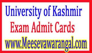 University of Kashmir BIT IVth Sem IInd Year (Annual) 2016 Exam Admit Cards