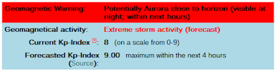 aurora alert message from CalSky