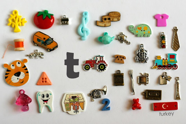 TomToy Individual letter T I spy trinkets for alphabet, Miniature abc objects, Montessori alphabet. Sorting toddler activities