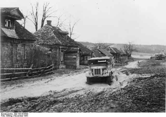 A German truck stuck in the mud near Moscow, November 1941 worldwartwo.filminspector.com