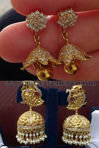 8b6356042d4b6 Dull Finish Gold Jhumkas - Jewellery Designs