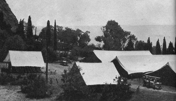 Первые палатки Артека