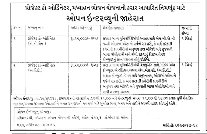 MDM Project Coordinator Office Gandhinagar Recruitment - 2018