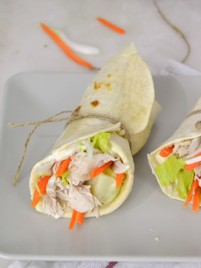 Wraps de pollo con tortillas mexicanas caseras