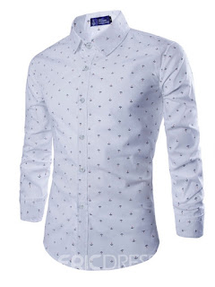Ericdress Lapel Solid Color Plain Polka Dots Single-Breasted Men's Shirt