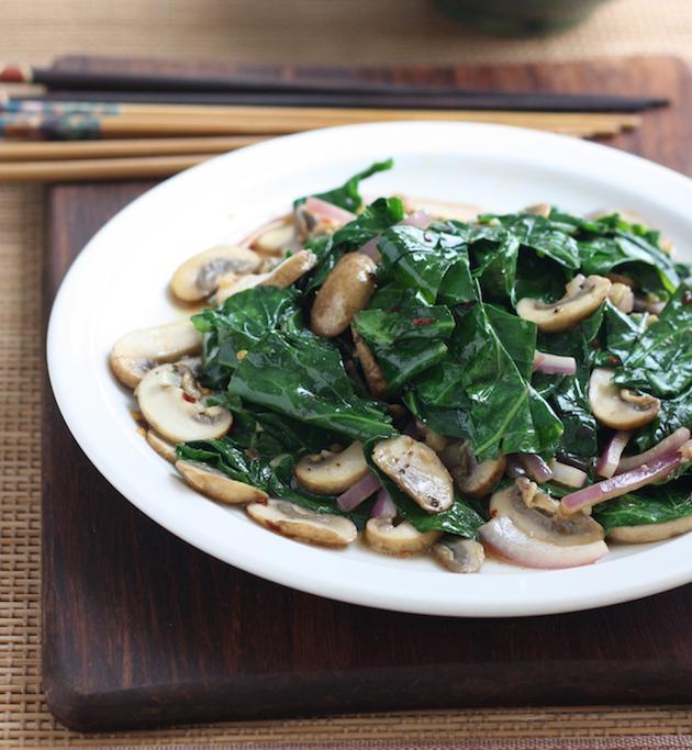 Collard Greens with Mushrooms Stir Fry recipe by SeasonWithSpice.com