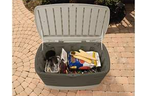 Medium Deck Box With Seat 10 Cubic Feet, Deck Boxes, Garden Boxes, Garden Storage Box, Garden Storage Boxes, Keter, Lifetime, Plastic Deck Boxes, Plastic Deck Storage Container Box, Plastic garden Storage Box, Rubbermaid, Rubbermaid Deck Boxes,