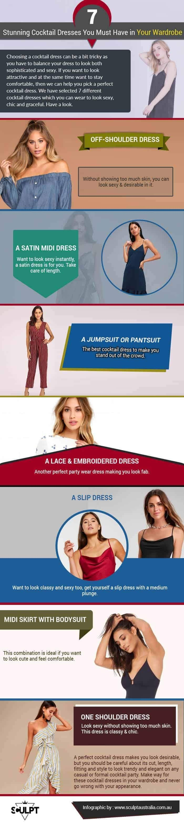 7 Stunning Cocktail Dresses You Must Have In Your Wardrobe #infographic