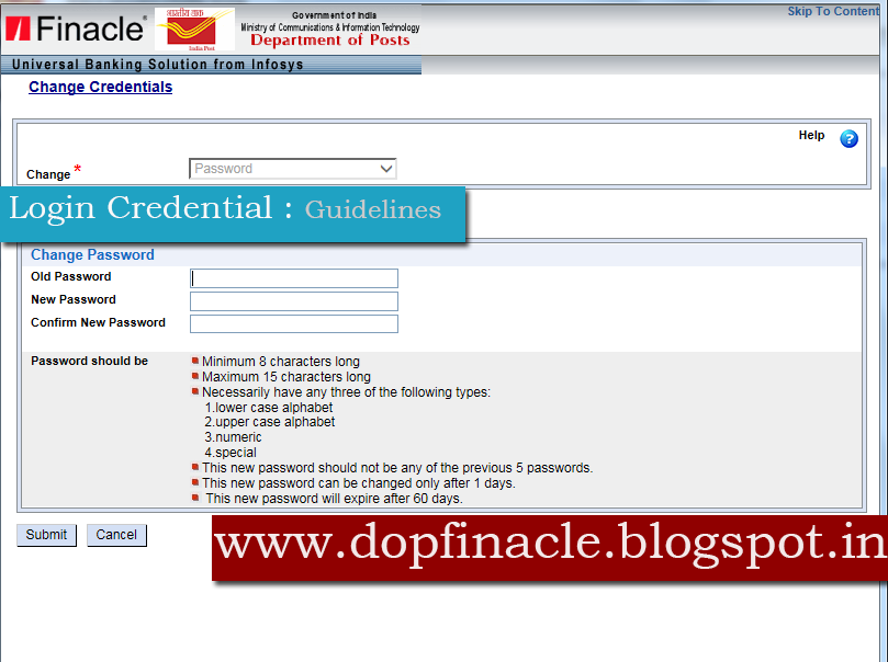 DOP Finacle : Login Credentials and its format of Password