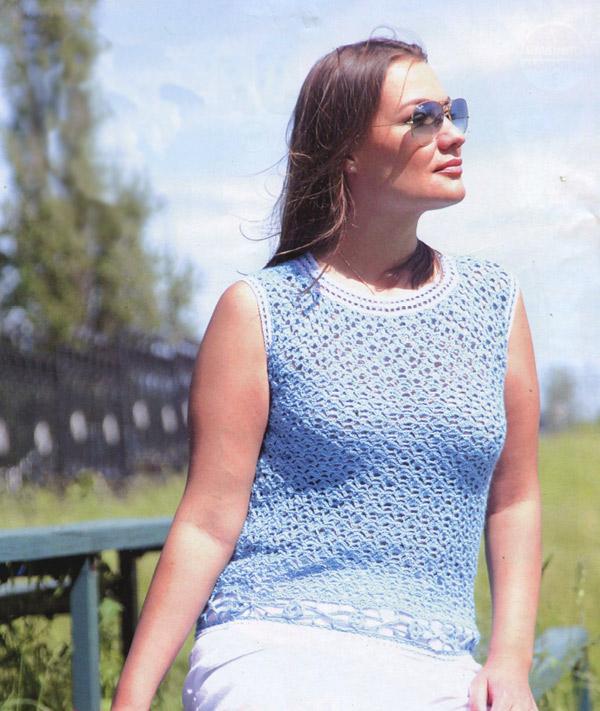 Голубой ажурный топ. Blue openwork top - Crochet