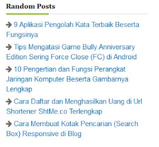 Cara Mudah Membuat Widget Random Post Responsive Fast Loading di Blogger