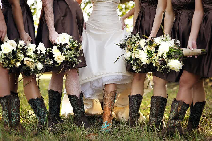 Western Brown Bridesmaid Dress Cowboy Boots Wedding Gowns