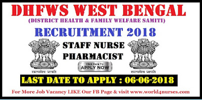 WB DHFWS Recruitment 2018 – Latest Staff Nurse, Pharmacist Jobs Notification