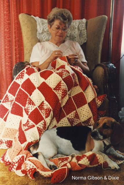 Norma, crocheting a huge blanket  with my dog Dixie thinking its for her!