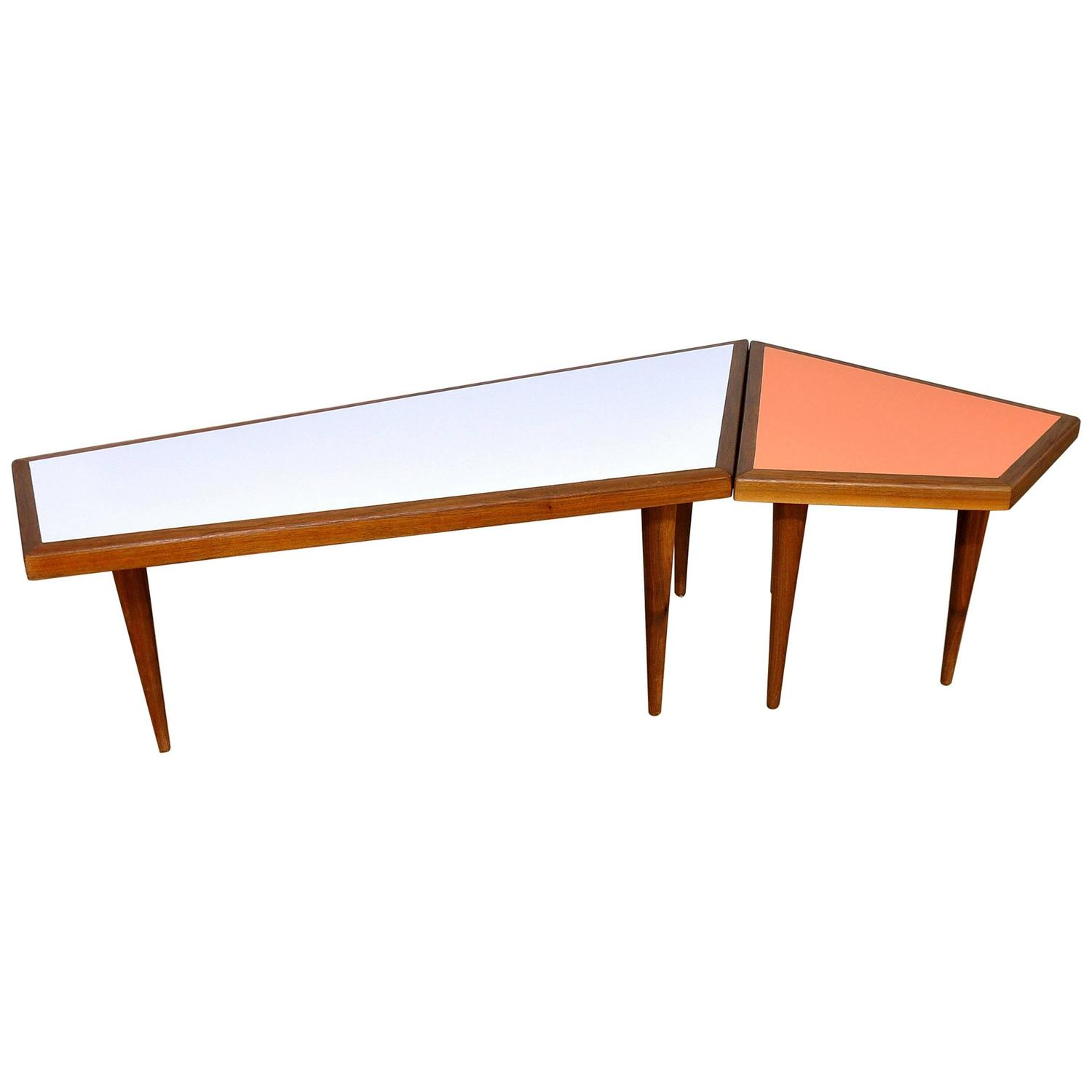 Select Modern Danish Modern Teak Geometric Coffee Side Table Set