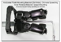 PJ1104: Horizontal Flash Mounting Bracket - Double Wide, Rigid Umbrella Riser, Chimera Speedring, Axial Rotation Bracket Spigot Mounting (top view)