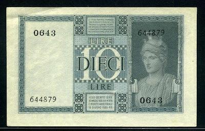 Italian money 10 lire banknote bill